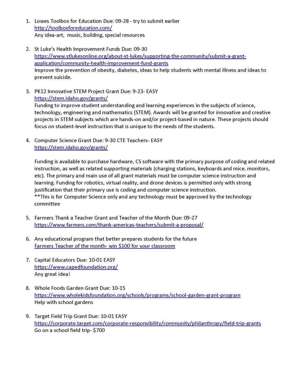 idaho council of teachers of mathematics grant opportunities